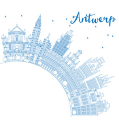 Outline antwerp skyline with blue buildings and vector