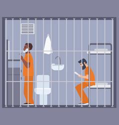 Pair men in prison jail or detention center vector