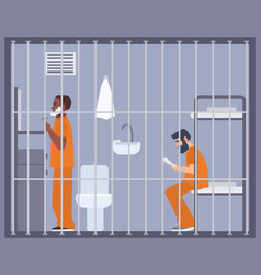 pair of men in prison jail or detention center vector image