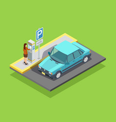 Parking Isometric Template vector image