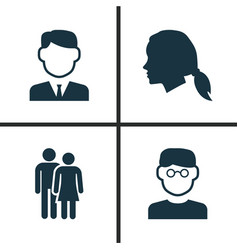 People icons set collection of scientist vector