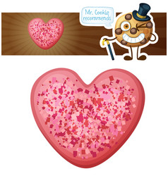pink sprinkles heart cookie vector image