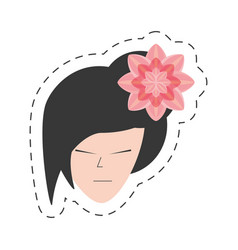 portrait japanese woman and sakura flower vector image