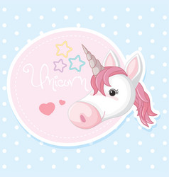 Poster design with pink unicorn vector