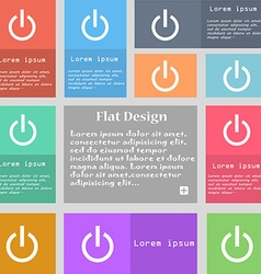 Power icon sign Set of multicolored buttons with vector image