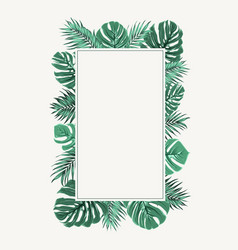 Rectangular border frame green tropical leaves vector
