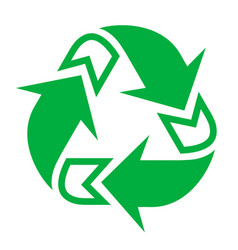Recycling sign triangle green natural logo and vector