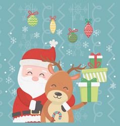 santa hugging reindeer pile gifts and hanging vector image