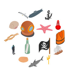 sea icons set isometric 3d style vector image