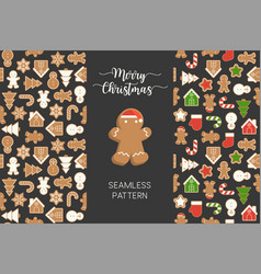 seamless pattern different gingerbread men vector image
