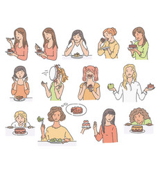 set female characters with dessert cake sketch vector image