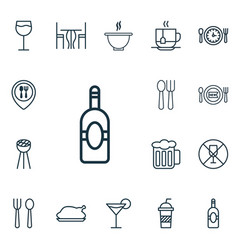 set of 16 restaurant icons includes cutlery vector image