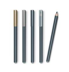 Set of grey blue cosmetic makeup eyeliner vector