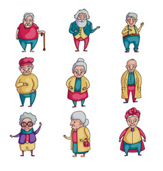 set old senior people character in present life vector image