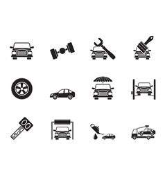 Silhouette auto service and transportation icons vector image