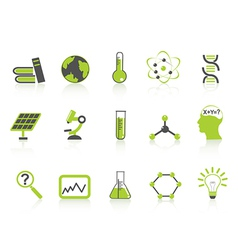 simple science icons setgreen series vector image