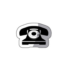 sticker black silhouette antique phone with vector image