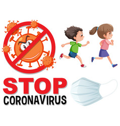 stop coronavirus logo with children running vector image