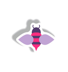 stylish icon in paper sticker style honey bee vector image