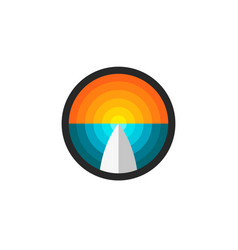 surfboard abstract ocean and sunset round logo vector image