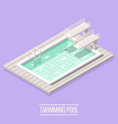 swimming pool isometric composition vector image