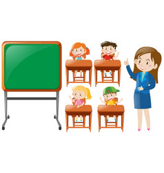 teacher and students in class vector image