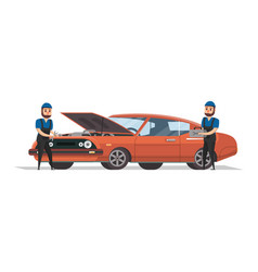 Two mechanics working with red car vector