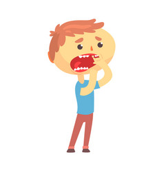Unhappy boy character suffering from toothache vector