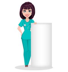 veterinarian woman cute cartoon character vector image