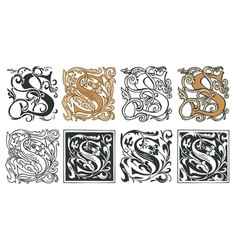 Vintage initial letter s with baroque decorations vector