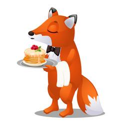 Waiter fox carries a plate pancakes vector