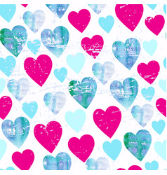 watercolor hearts seamless pattern valentines day vector image