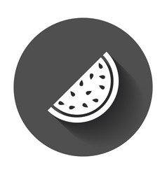 watermelon icon juicy ripe fruit with long shadow vector image