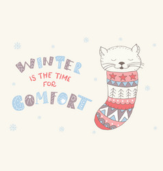 winter postcard with quote and phrase vector image