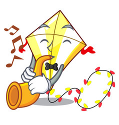 with trumpet cute kite flying the on mascot vector image