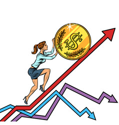 woman businesswoman roll a usa dollar coin up vector image
