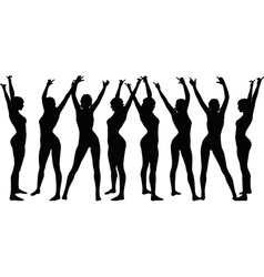 Woman silhouette with hand gesture hands-up vector