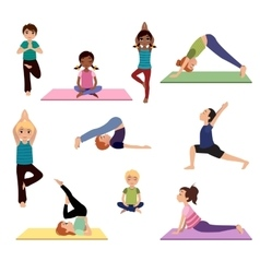 Yoga kids Asanas poses set vector