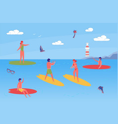 young people spending time together on beach vector image