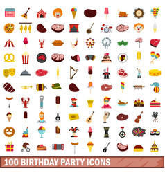100 birthday party icons set flat style vector image