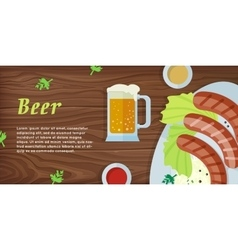 Beer Web Banner in Flat Style Design vector image