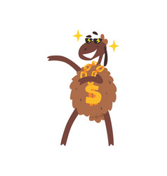 Rich funny sheep character with dollar chain vector