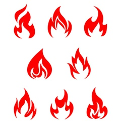 Set of fire flames vector