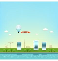 Urban landscape on the seashore background vector image