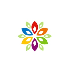 Abstract colorful flower ornament logo vector