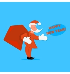 cartoon Santa Claus with a bag of gifts in vector image vector image