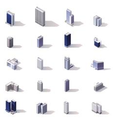 isometric city buildings icon set vector image