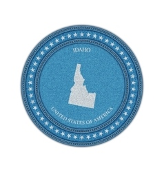 Label with map of idaho Denim style vector image
