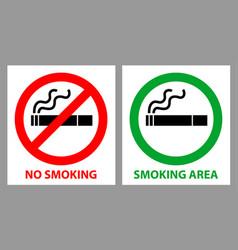 no smoking and smoking area sign vector image