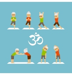 Old people yoga icons vector image vector image